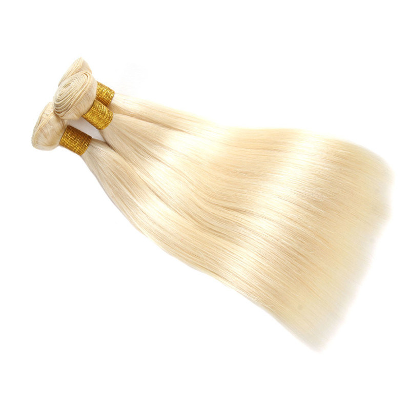 China Peruvian Straight Hair Weave 613 Blonde Non Remy Hair Bundles