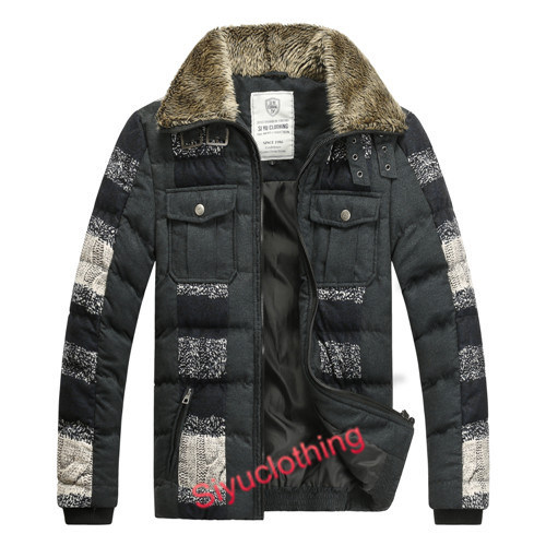Mens Lapel Dark Color Fashion Popular Down Padding Classical Jacket (F-1631)