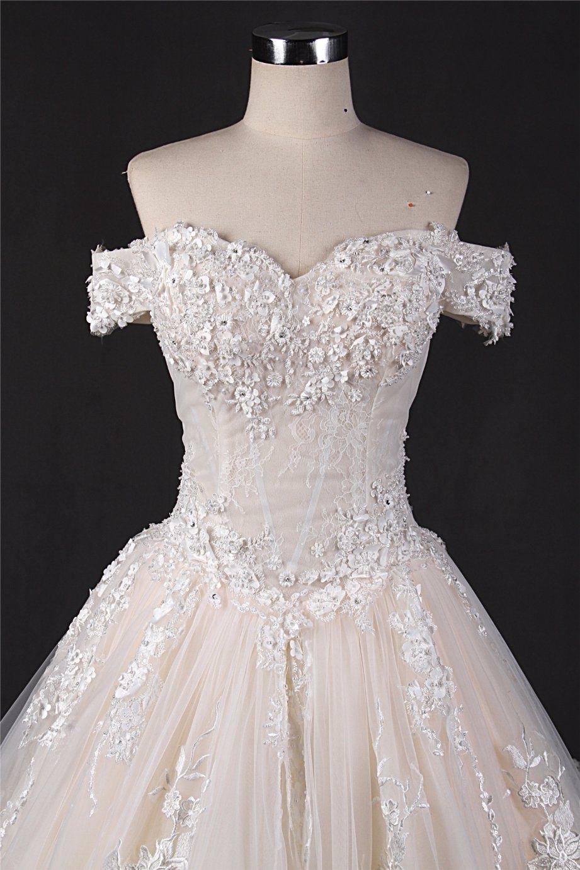 China off Shoulder Lace Big Train Bridal Wedding Dress Zt7281 Photos ...