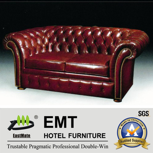 China Top Grade Leather Sofa Hotel, Dark Red Color Leather Sofa