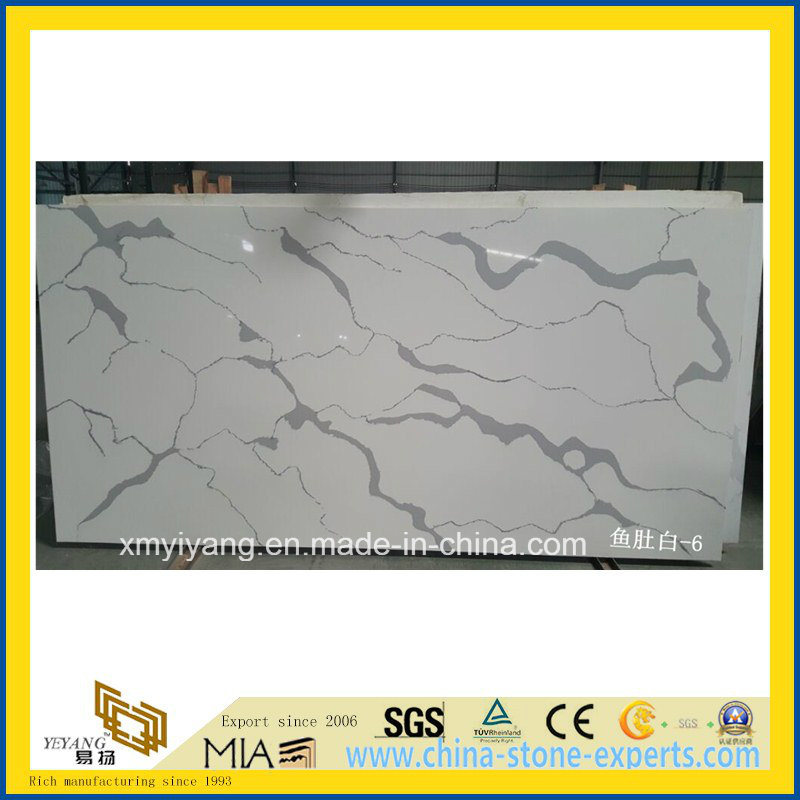 Custom White Calacatta Artifical Quartz Stone Countertop for Kitchen, Island pictures & photos