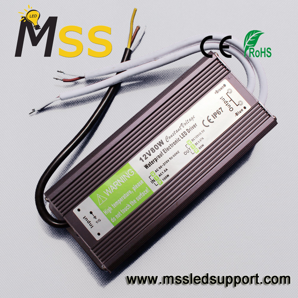China Constant Voltage 12v 24v 80w Led Waterproof Switching Power Supply Adaptor 6a Ip67 Driver Transformer