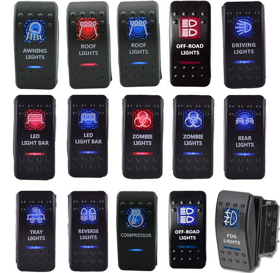 China Red Blue Led Light Car Boat Rocker Toggle Switch With Legend Offroad Lights Wall