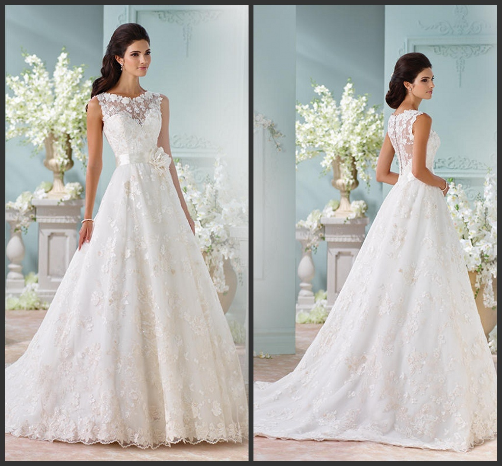China Sheer Bridal Gown Cream Lace Flower A-Line Wedding Dress ...