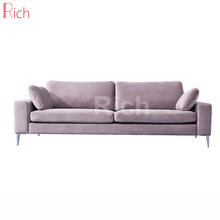 Hot Item Chinese Furniture Stainless Steel Legs Grey Velvet Cushion Leisure Sofa