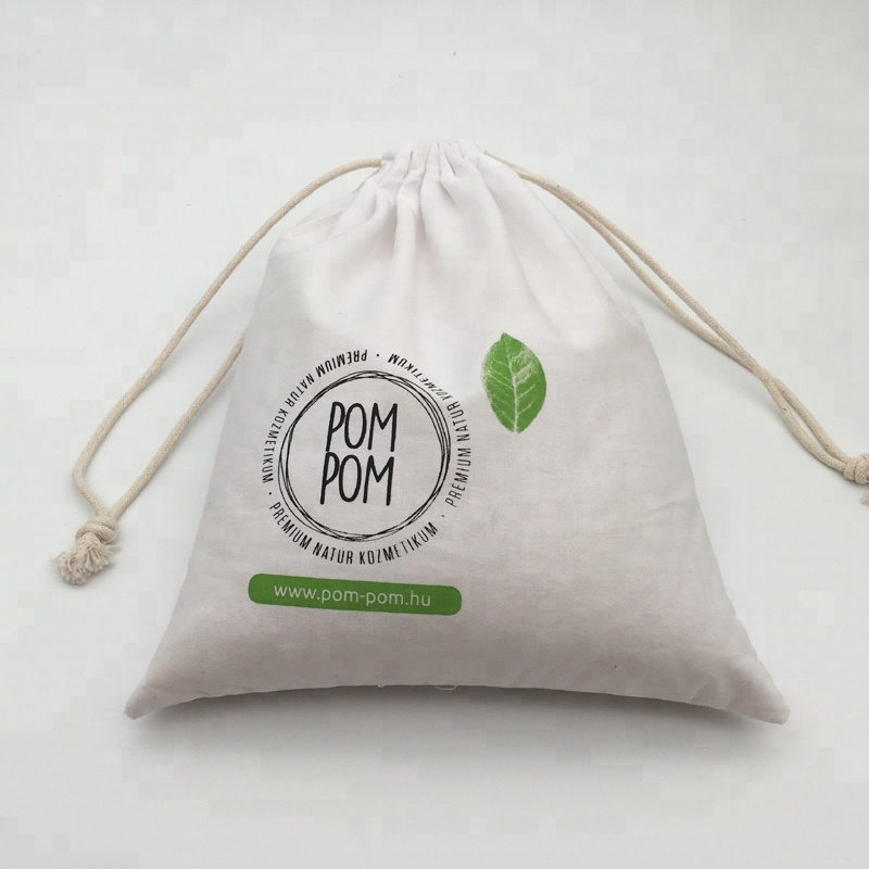 Custom Screen Printing Logo White Cotton Fabric Gift Pouch Bag pictures & photos