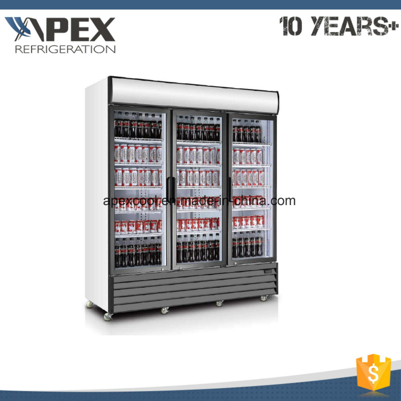 China 210 Degree Glass 3 Door Display Commercial Refrigerators