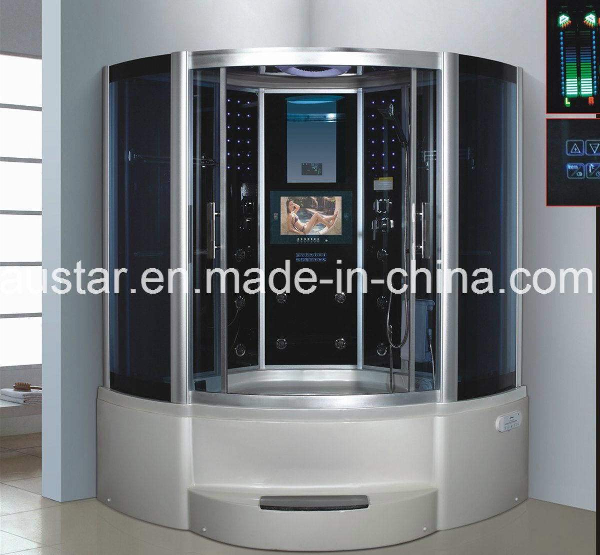 1500mm Sector Pearl Steam Sauna with Jacuzzi and Tvdvd (AT-G9051TVDVD)