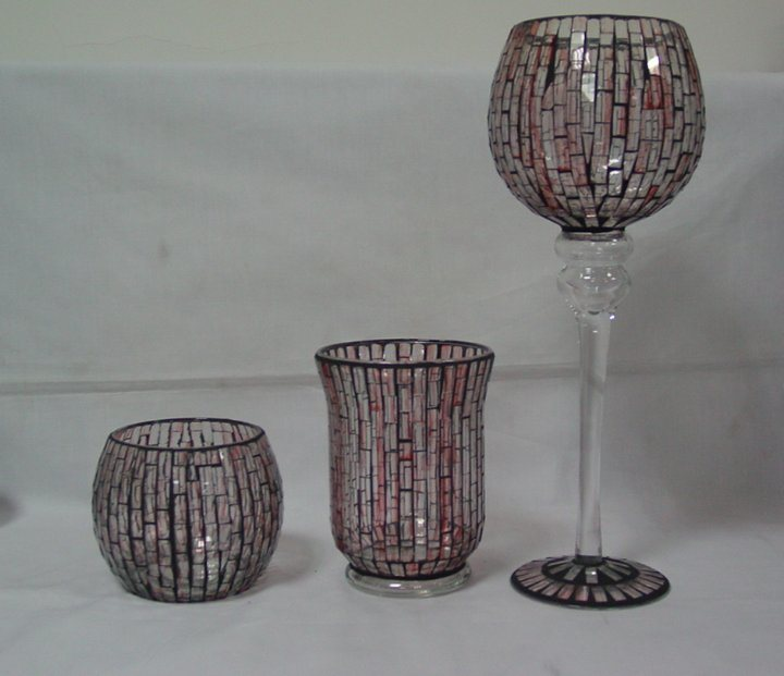 Decorative Mosaic Glass Hurricane Lamp (DRL05173-174-175)