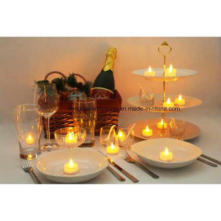 Golden Glitter Wavy LED Wax Candle with Timer for Decoration pictures & photos