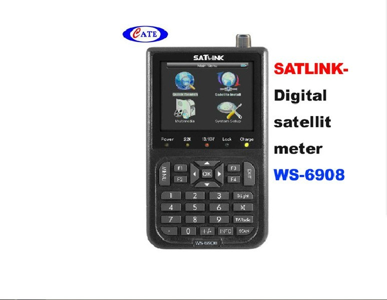 Professional 3.5 LCD Handheld SATLINK WS-6908 DVB-S FTA Data Satellite Signal Finder Meter PAL//NTSC//SECAM Lithium-ion 3000mA