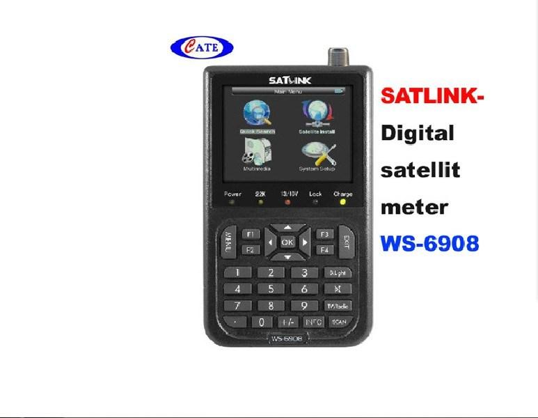 Professional 3.5 LCD Handheld SATLINK WS-6908 DVB-S FTA Data Satellite Signal Finder Meter PAL//NTSC//SECAM Lithium-ion 3000mA
