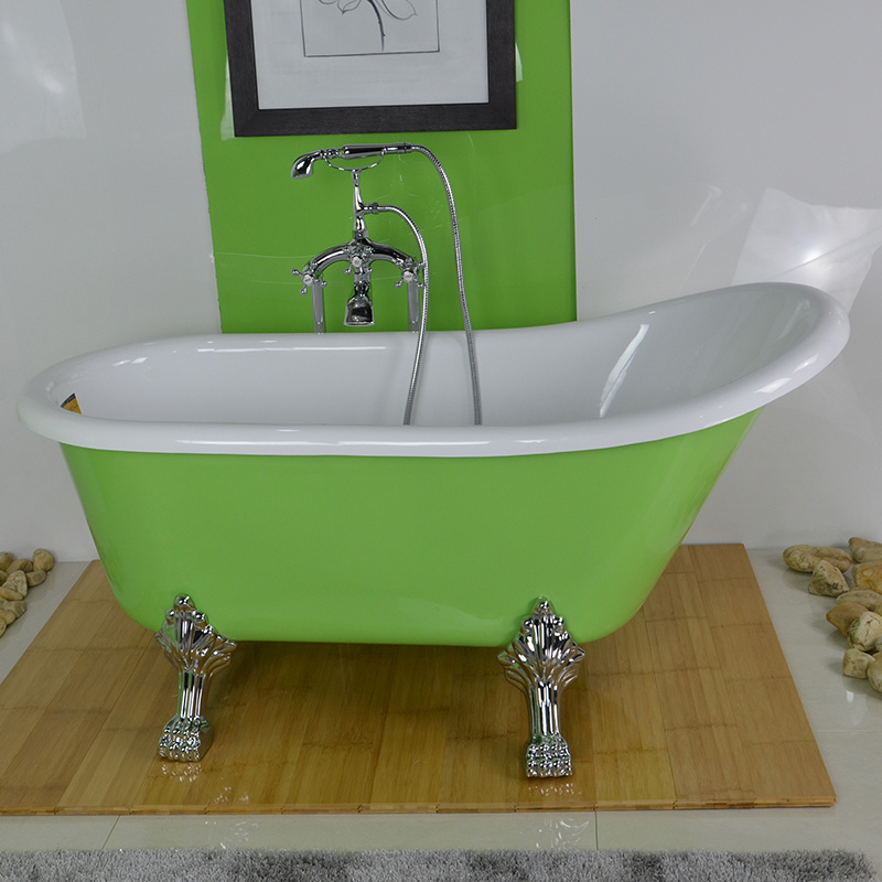 China Acrylic Classical Bathtub With Feet And Green Color