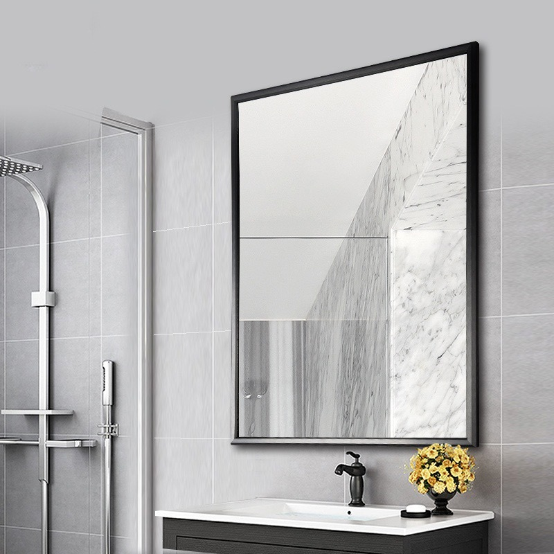 China Wholesale Cheap Aluminum Metal Silver Gold Large Decorative Wall Mirror Glass Price China Framed Mirror Framed Bath Mirror