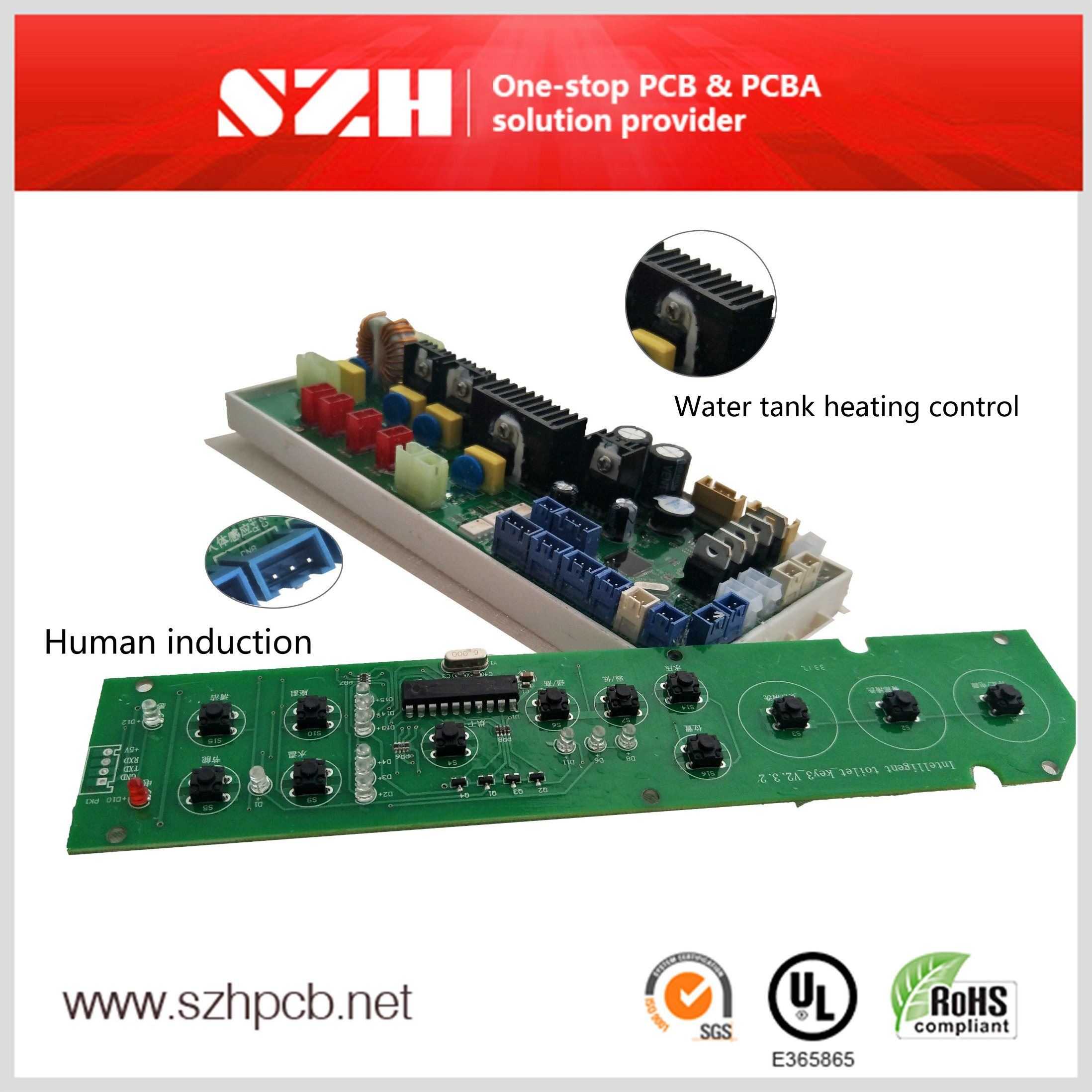 China Fr4 10mm 1oz Hasl Automatic Bidet Pcba Photos Pictures Lead Free Electronic Pcb Printed Circuit Board Assembly