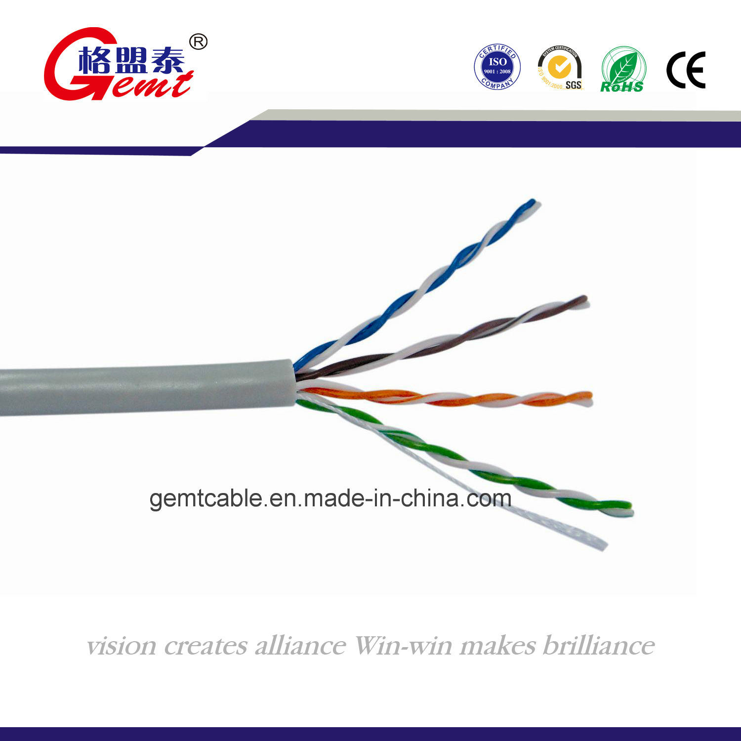 China Bare Solid Network Cable Copper Conductor UTP Cat5 - China UTP ...