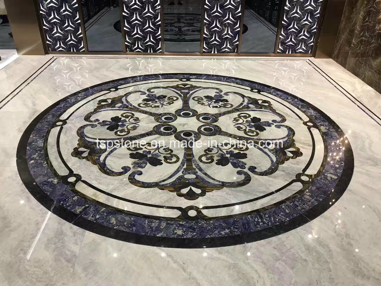 China Natural Stone Waterjet Marble For Floor Flooring Wall Kitchen Lobby Slab Tile Mosaic Pattern Border Medallion Floor Tiles With Metal Inlay China Marble Marble Slab