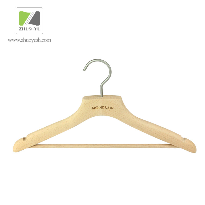 Hot Item Natural Color Beech Wooden Top Hanger Bottom Hangers
