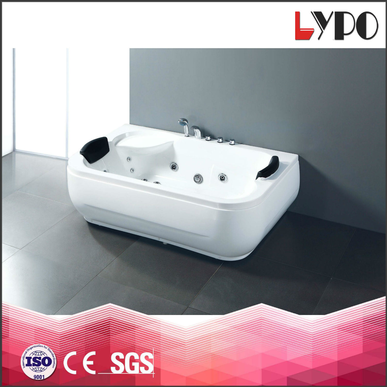 China K-8817 White Simple Bathtub with Water Jets 6 Pieces, Floor ...