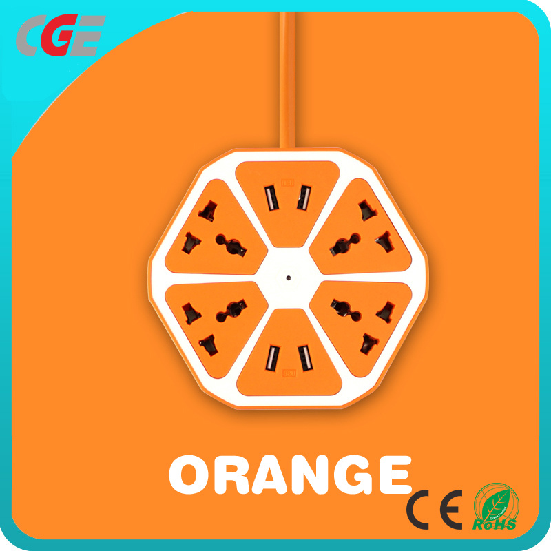 China Universal Orange Color Wired Strip 4 Usb Socket Family Use Smart Fruit Electric Switch