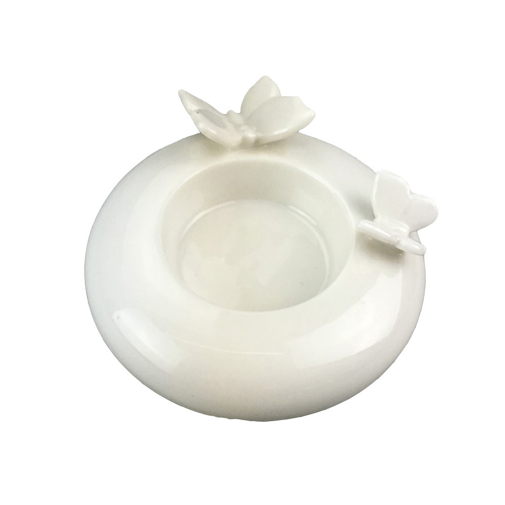 China Decorative Porcelain Round Shaped White Candle Holder With Butterfly Figurine China Tealight Bowls And Candle Holder Price