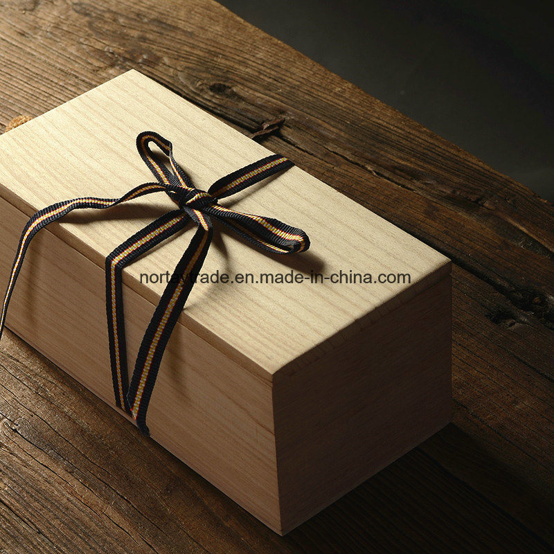 China Solid Wooden Gift Box Rectangle With Ribbon Fabric Art