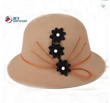 bd03f2331eccfb China Ladies Wool Felt Cloche Bucket Hats with Flower - China Wool ...