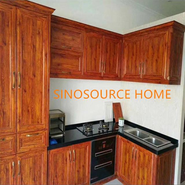 China Customized Wood Grain Colour Aluminum Kitchen Cabinet Doors