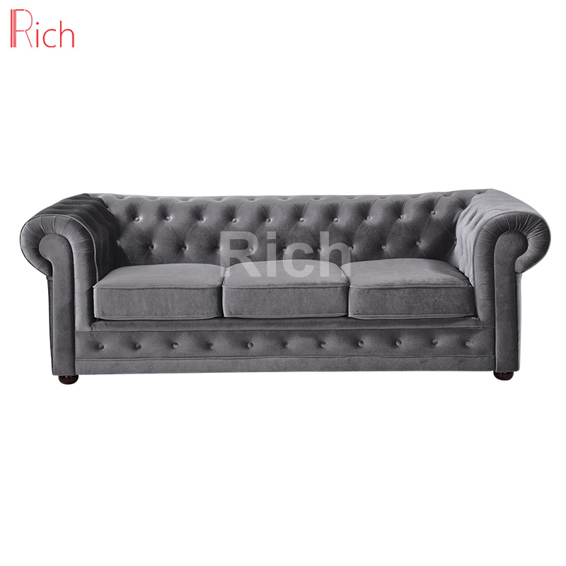 [Hot Item] Modern Chesterfield Couch European Style Living Room Hotel  Fabric Sofa