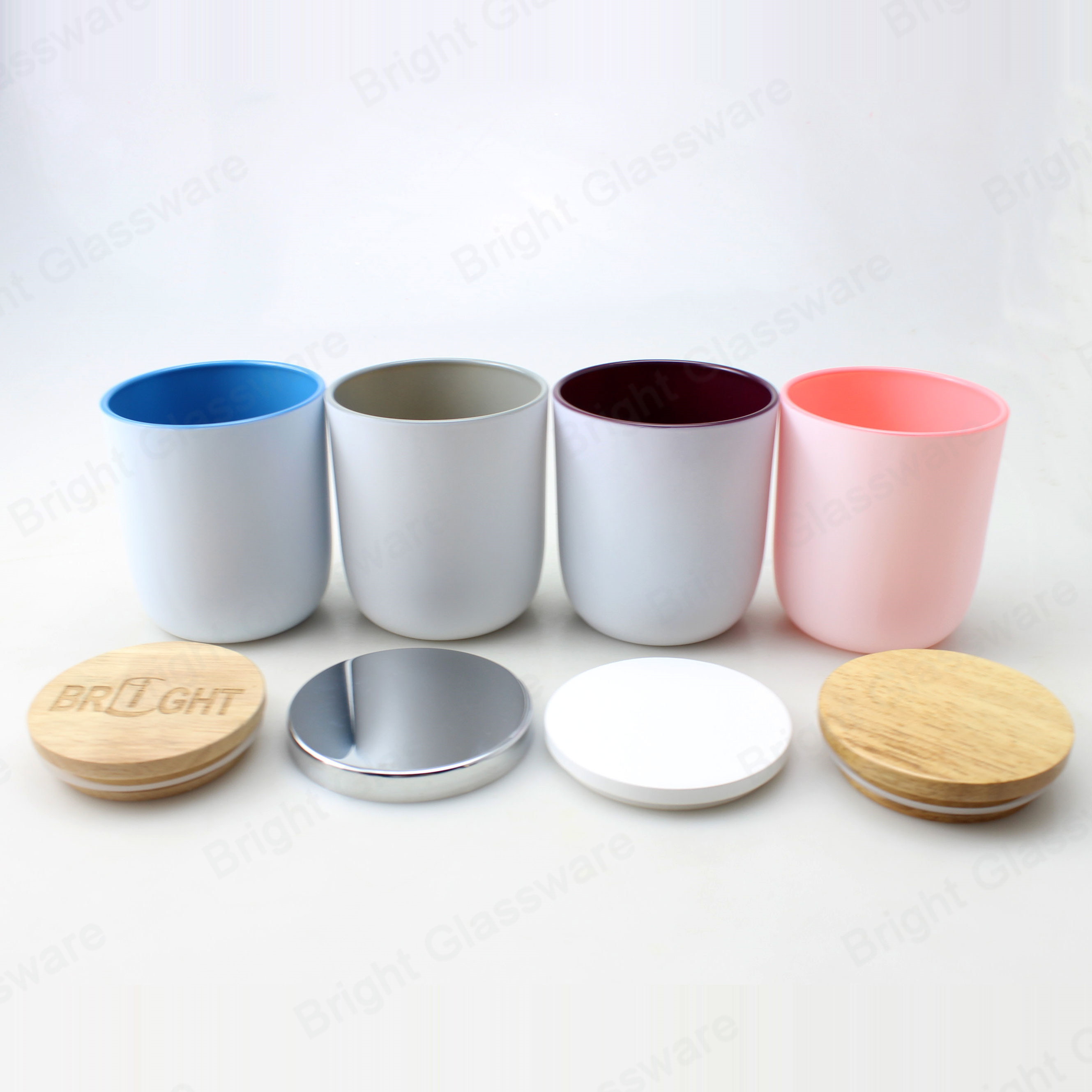 Wholesale Customize White Pink Blue Painting Glass Candle Holder With Wooden And Metal Lids China Candle Jar And Candle Holders Price Made In China Com