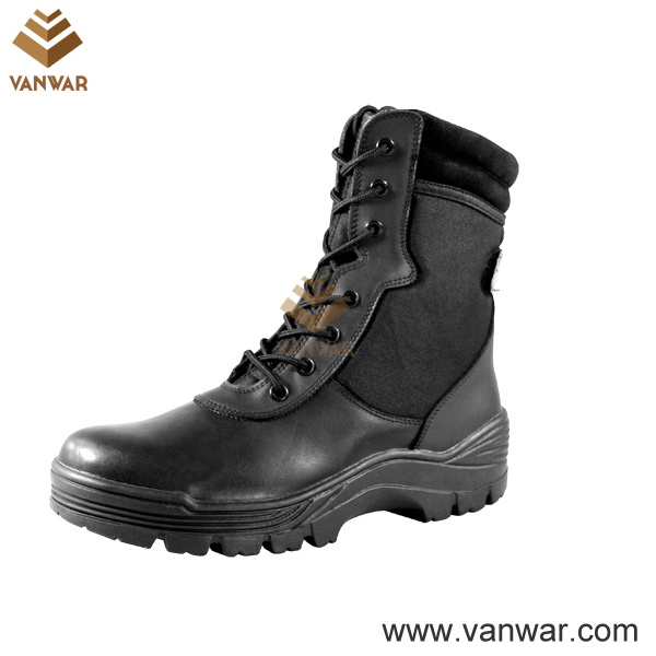Black Leather Military Combat Boots