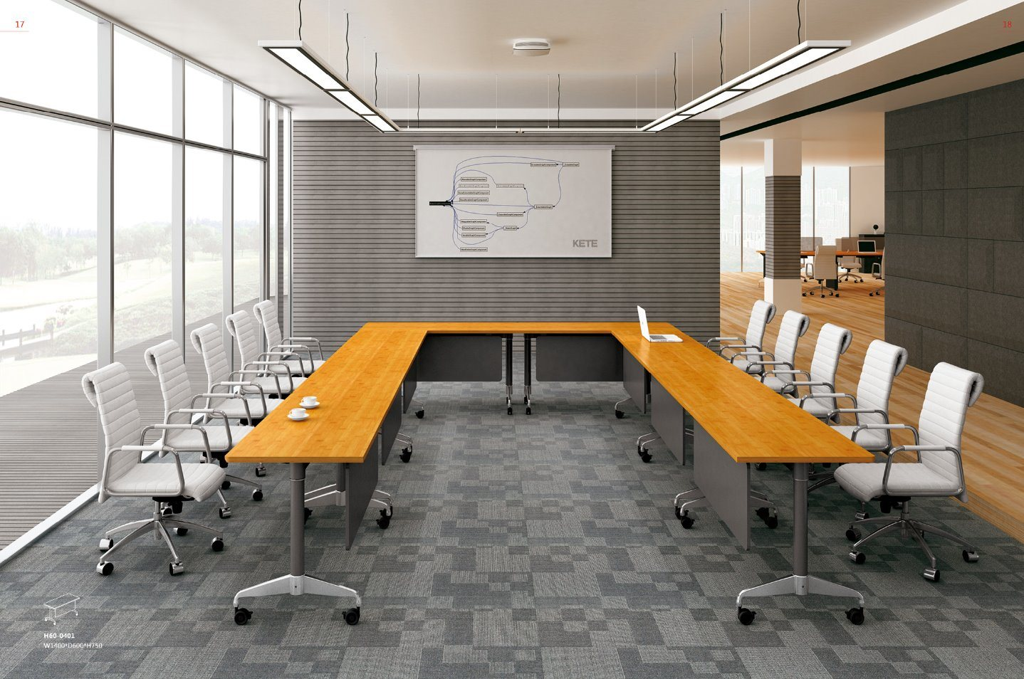 [Hot Item] New Style U-Shaped Office Meeting Room Conference training Table  (H42-42)