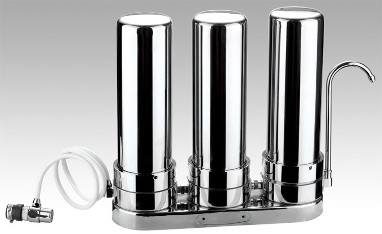 3 Stages Countertop 304 Stainless Steel Water Purifier with Direct Dirnking Water Solution