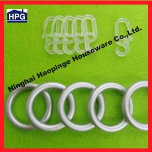 China Plastic Designer Shower Curtain Rings Metal Eyelet