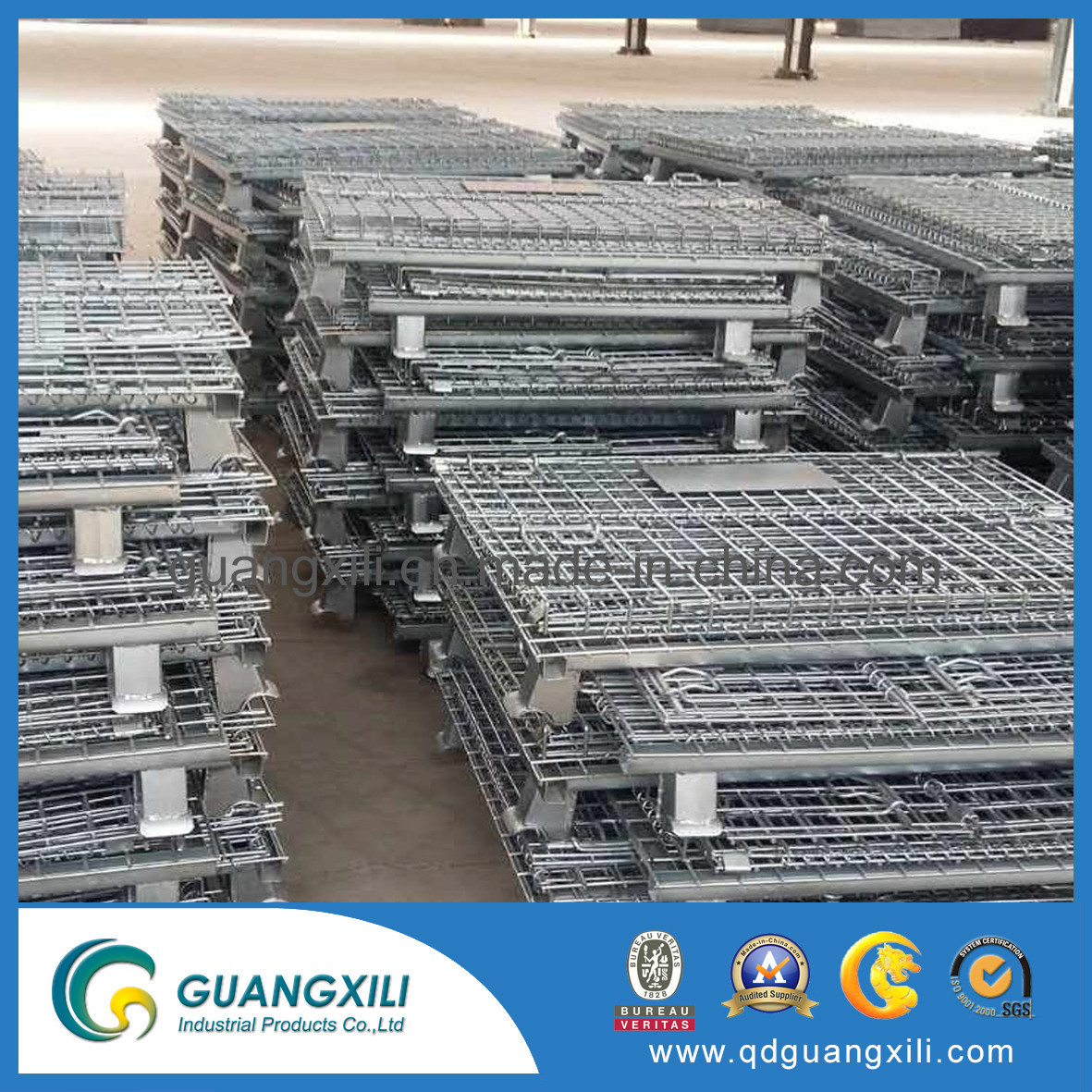 China Industrial Stackable Storage Rack Wire Metal Box Pallet Wiring A Building Mesh Container Galvanized