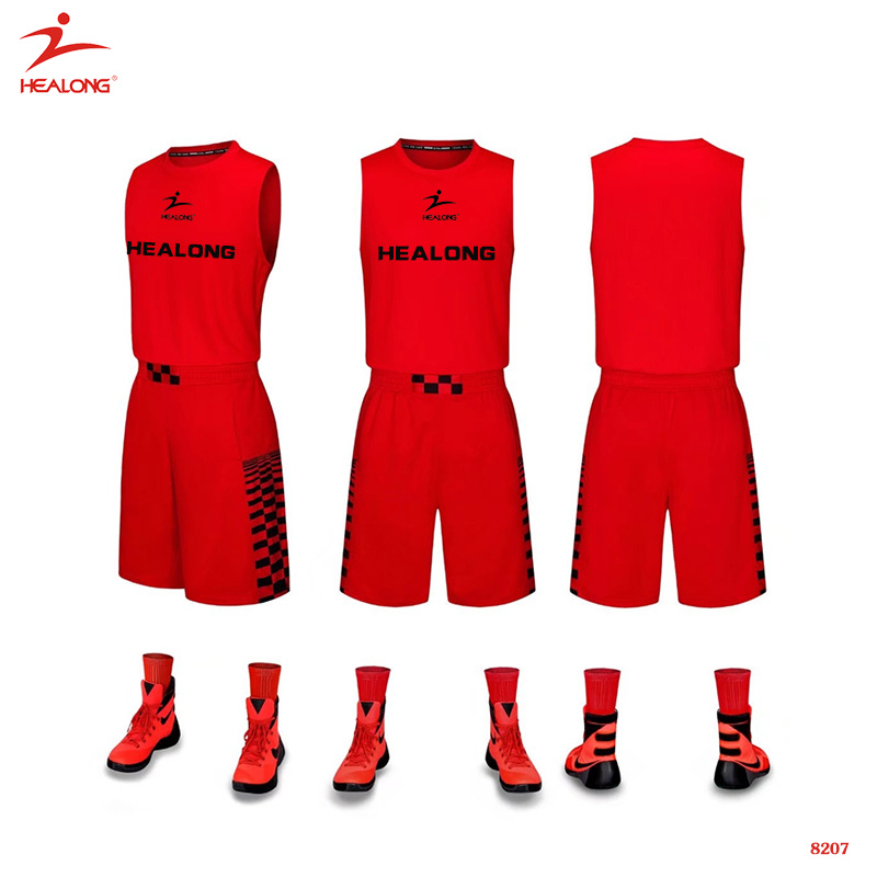 e55212b6e Healong Custom Sublimated Red Basketball Uniform Simple Design Basketball  Jersey