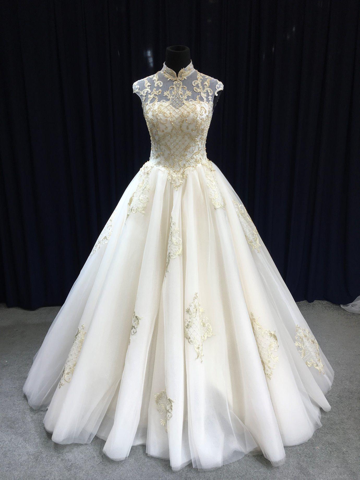 China Aoliweiya Golden Appliques High Neck Glass Beading Wedding Dress: Gold Applique Wedding Dress At Reisefeber.org