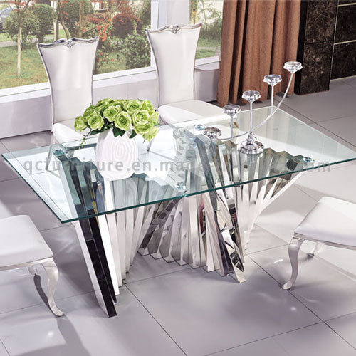 2016 Modern latest Mirror Glass Top Dining Table with Metal pictures & photos