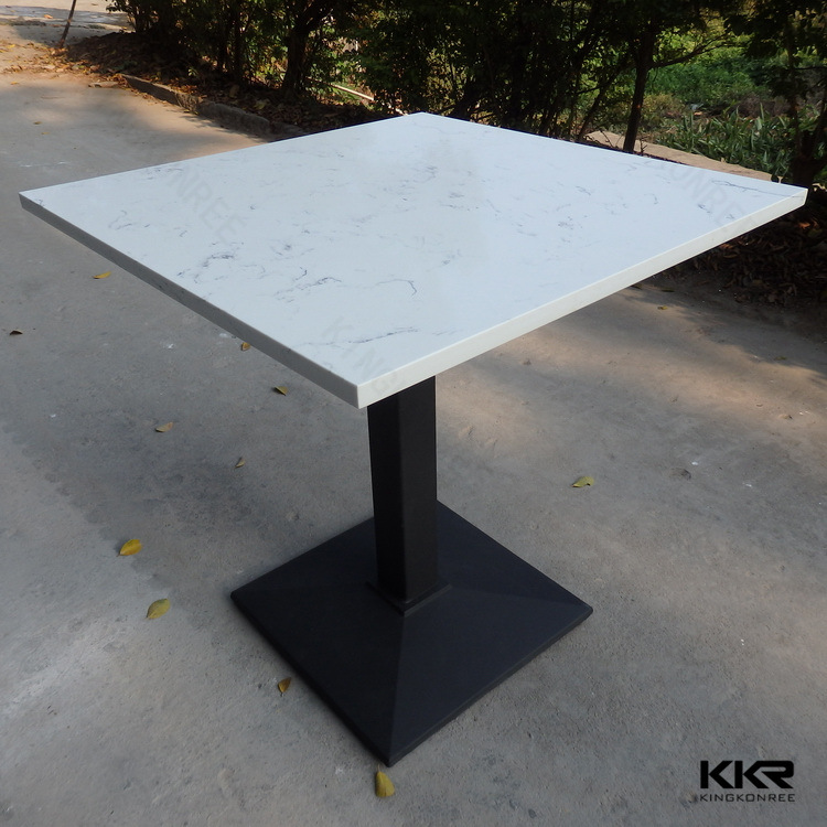 China High Hardness White Round Quartz Dining Restaurant Table