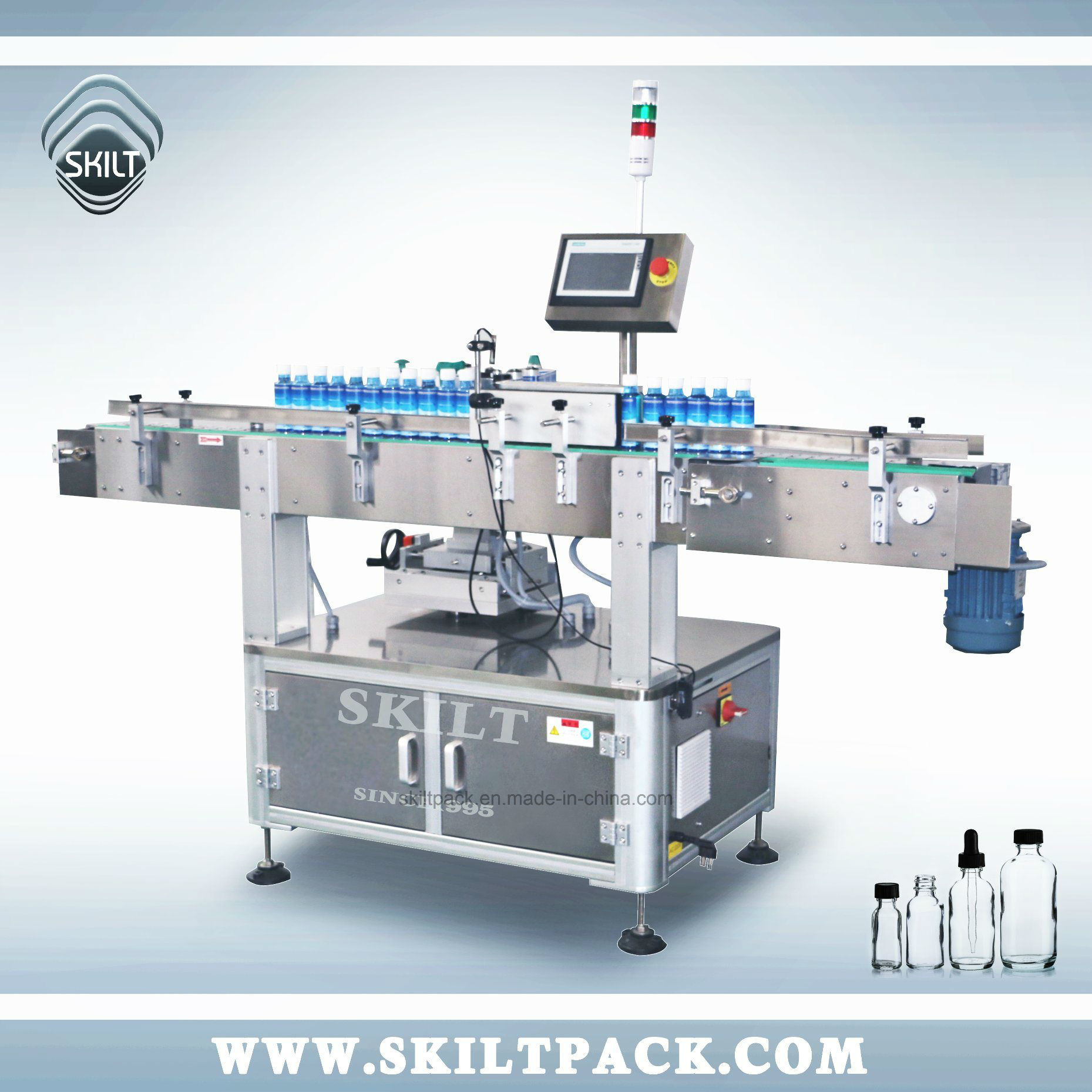 China Automatic Plastic Gl Bottle Jars Cans Self Adhesive Label Licator Labeling Machine