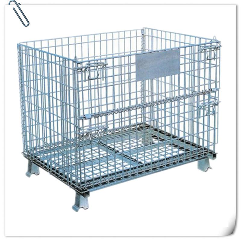 China Warehouse Fodable Shelf Welded Wire Mesh Storage Cage - China ...