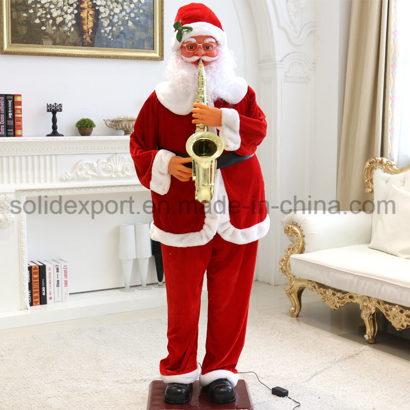 [Hot Item] Christmas Gift Decoration Electric Saxophone Music Father  Christmas for Shopping Mall Home Hotel