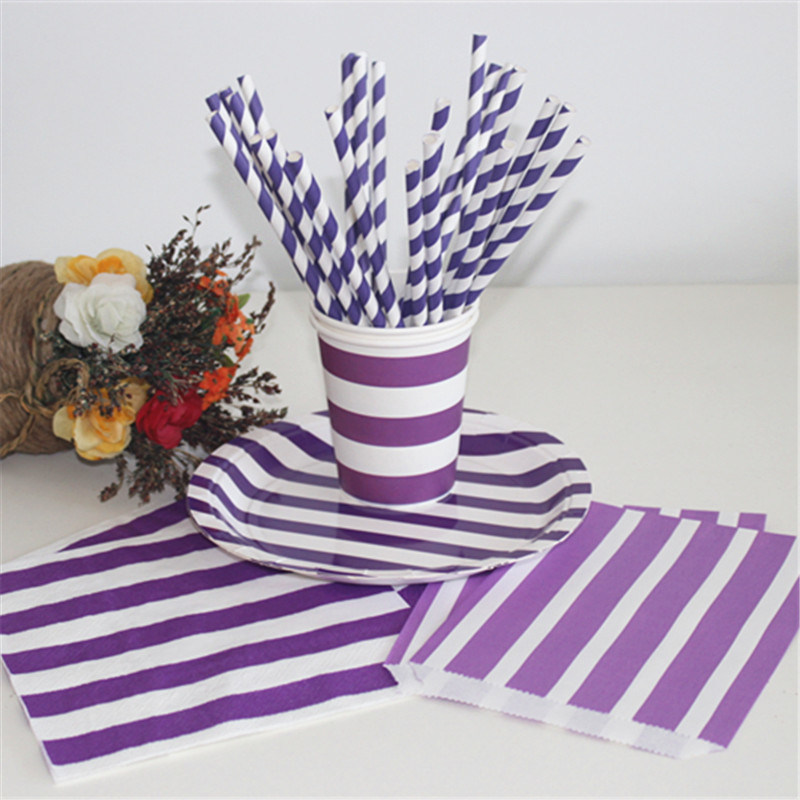 Paper Straws Color Stripe Party Favors for Kids Birthday