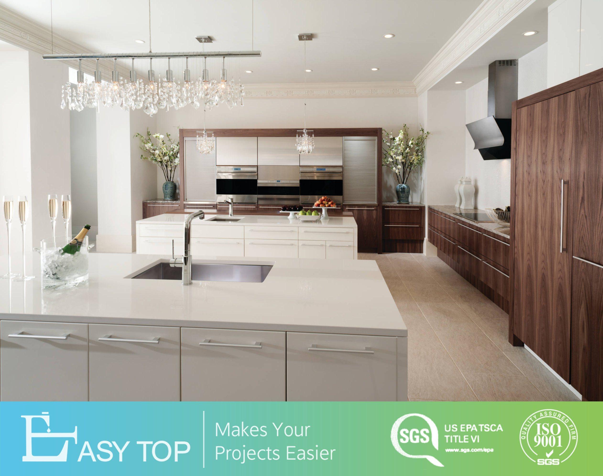 Hot Item European Contemporary Wood Tones Melamine Kitchen Cabinet With Quartz Stone