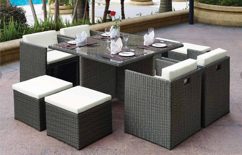 China 9 Pieces Compact Patio Dining Table Set All Weather Outdoor Wicker Dining Table With 4 Stool And Glass Top Table Cushioned Chairs For Poolside Photos Pictures Made In China Com