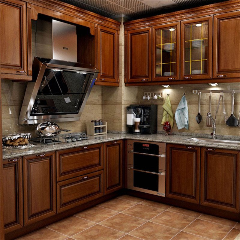 China America Shaker Style Solid Wood Kitchen Cabinet With Glass