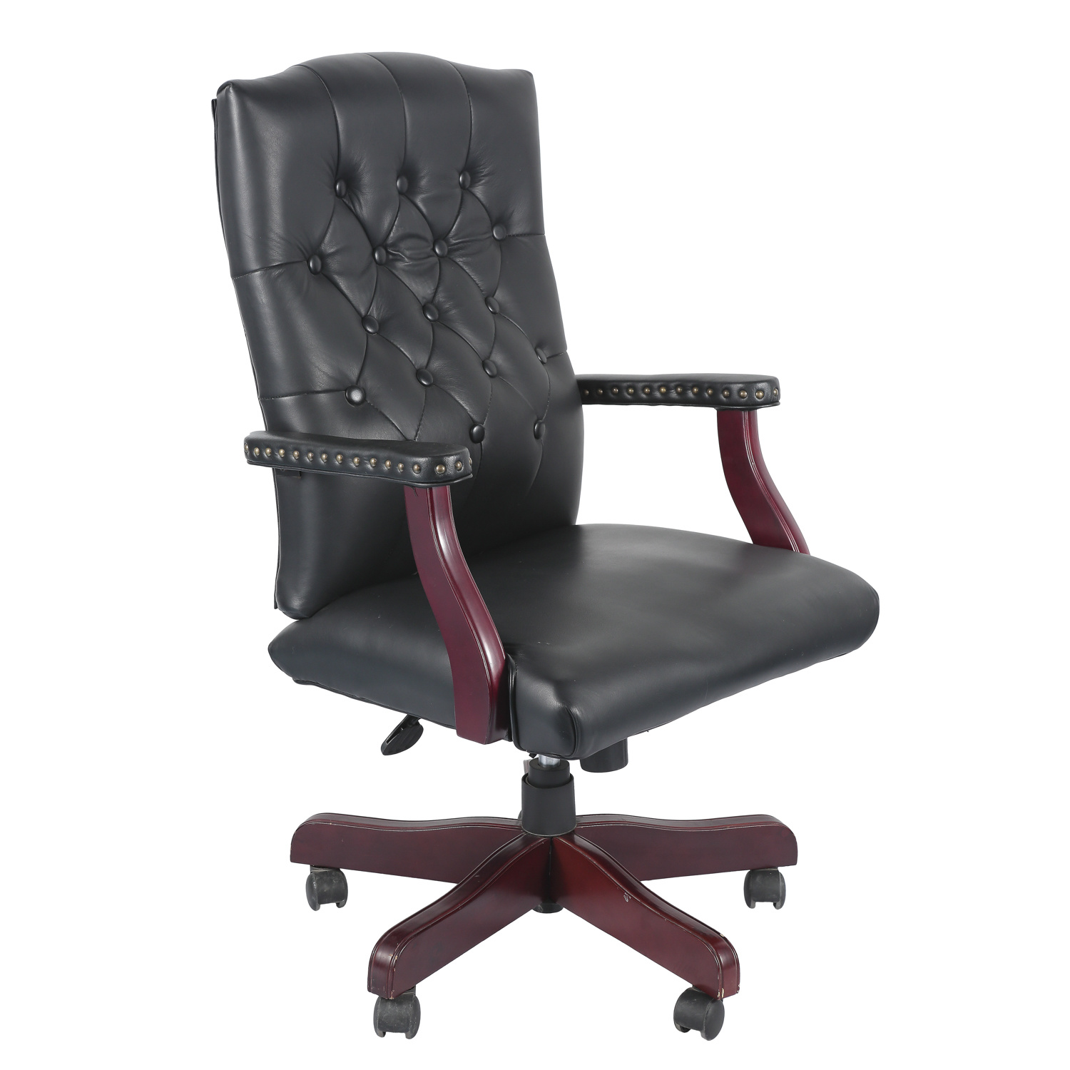China American Office Swivel Chair With Grain Leather Upholstered And Decorative Nail Trim Furniture