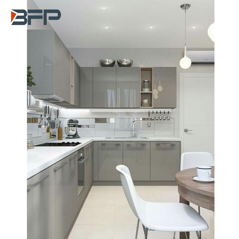 [Hot Item] Light Grey High Glossy Kitchen Cabinet