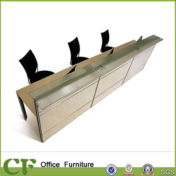 Fashion Office Furniture Reception Table Clear Glass Modern Desk