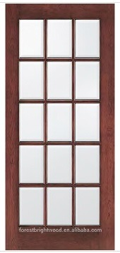 15 Lite Wooden French Door With Beveled Glass